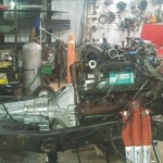 7.3 Ford Powerstroke Motor, Transmission, and Transfer Case in the Chassis